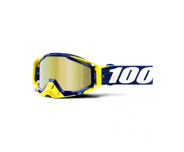 100%, RACECRAFT Goggle Bibal/Navy  - Mirror True Gold Lens, VUXEN