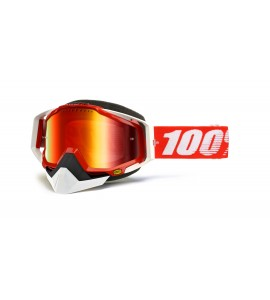 100%, RACECRAFT Snowmobile Goggle Fire Red - Mirror Red Vented Dual lens w/P, VUXEN
